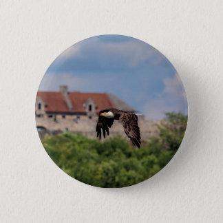 Bald Eagle passing Fort Ticonderoga 2 Inch Round Button