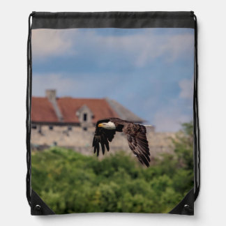 Bald Eagle passing Fort Ticonderoga Drawstring Bag