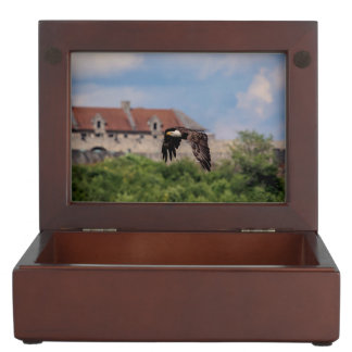 Bald Eagle passing Fort Ticonderoga Keepsake Box