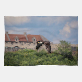 Bald Eagle passing Fort Ticonderoga Kitchen Towel