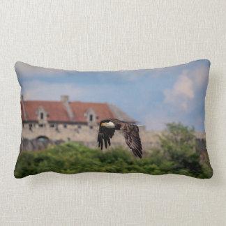 Bald Eagle passing Fort Ticonderoga Lumbar Pillow