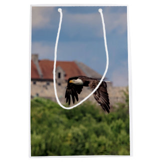 Bald Eagle passing Fort Ticonderoga Medium Gift Bag