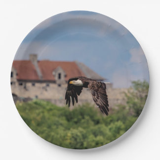 Bald Eagle passing Fort Ticonderoga Paper Plate