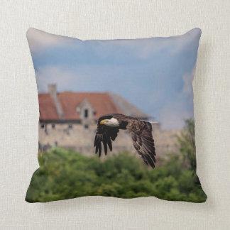 Bald Eagle passing Fort Ticonderoga Throw Pillow