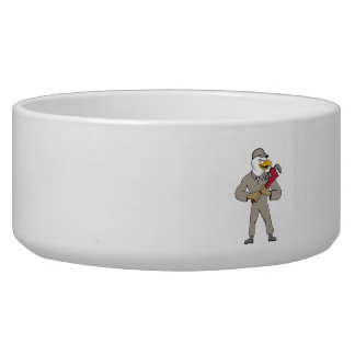 Bald Eagle Plumber Monkey Wrench Cartoon Dog Water Bowl