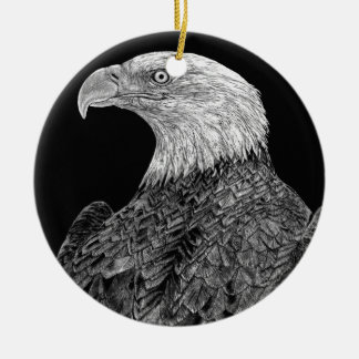 Bald Eagle Scratchboard Ceramic Ornament