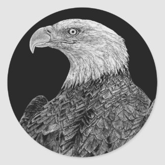 Bald Eagle Scratchboard Classic Round Sticker