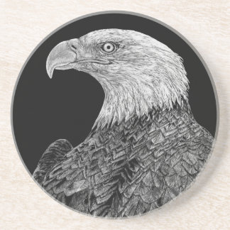 Bald Eagle Scratchboard Coaster