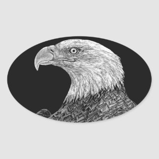Bald Eagle Scratchboard Oval Sticker