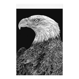 Bald Eagle Scratchboard Stationery Design