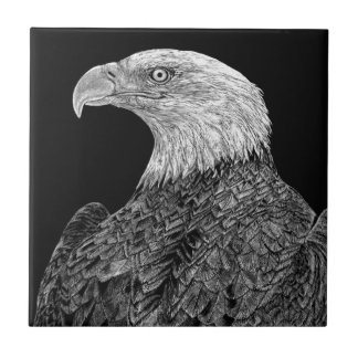 Bald Eagle Scratchboard Tile