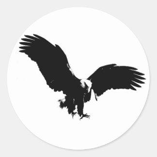Bald Eagle Silhouette Classic Round Sticker