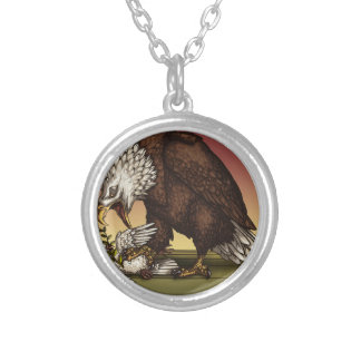Bald eagle silver plated necklace