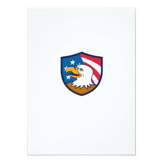 Bald Eagle Smiling USA Flag Crest Cartoon Card
