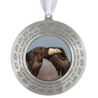 Bald Eagle Soaring Pewter Ornament