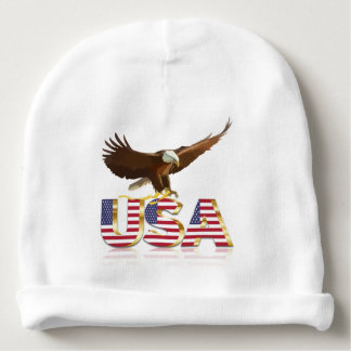 Bald eagle Usa flag Baby Beanie