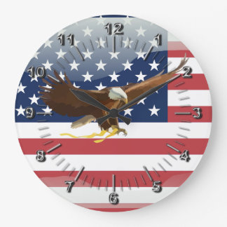 Bald eagle Usa flag Large Clock