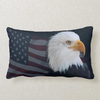 Bald eagle Usa flag Lumbar Pillow