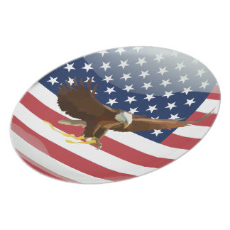 Bald eagle Usa flag Plate