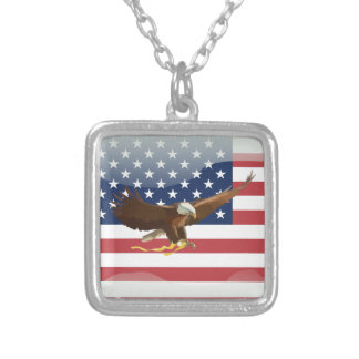 Bald eagle Usa flag Silver Plated Necklace