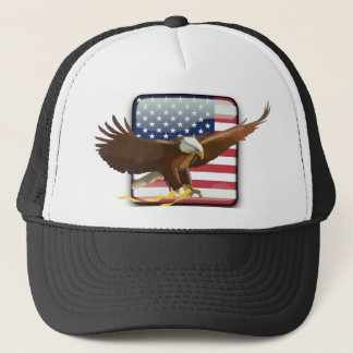 Bald eagle Usa flag Trucker Hat