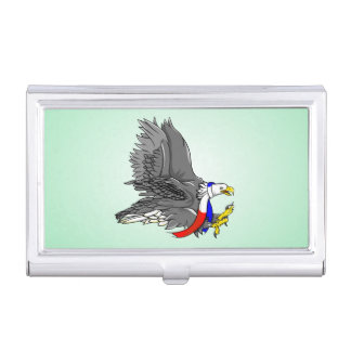 Bald Eagle Wearing Patriotic Neck Scarf Business Card Holders