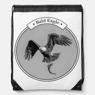 Bald Eagle with a fish Drawstring Bag