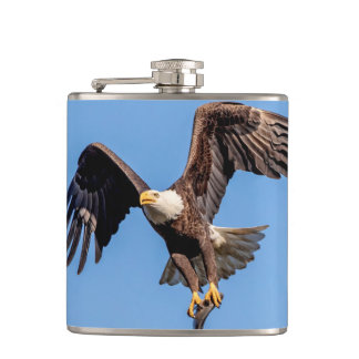 Bald Eagle with a fish Hip Flask
