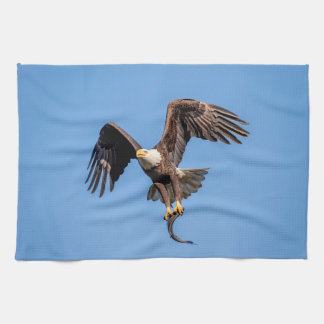 Bald Eagle with a fish Kitchen Towel