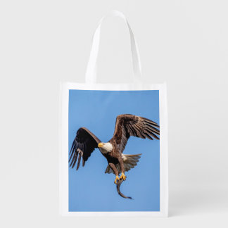 Bald Eagle with a fish Reusable Grocery Bag