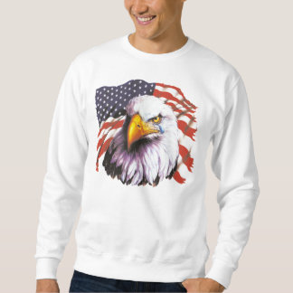 Bald Eagle With A Tear - USA Flag In Background Sweatshirt