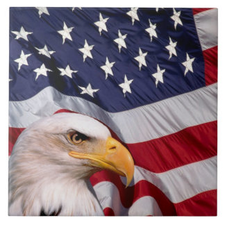 Bald Eagle with American Flag Tile