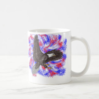 Bald Eagle with fireworks Coffee Mug