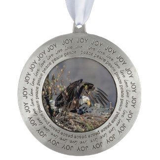 Bald Eagle with her baby Round Pewter Ornament