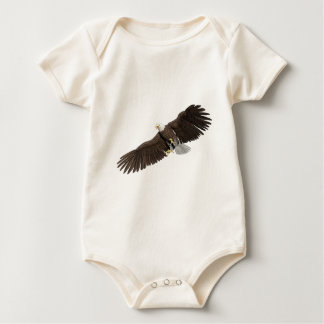 Bald Eagle with wings on down stroke Baby Bodysuit