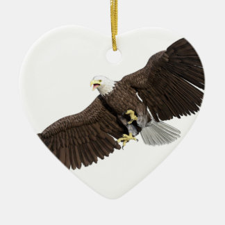 Bald Eagle with wings on down stroke Ceramic Ornament