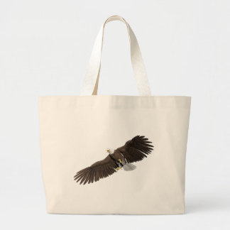 Bald Eagle with wings on down stroke Large Tote Bag
