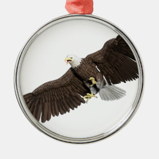 Bald Eagle with wings on down stroke Metal Ornament