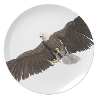 Bald Eagle with wings on down stroke Party Plate