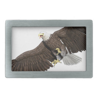 Bald Eagle with wings on down stroke Rectangular Belt Buckles