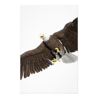 Bald Eagle with wings on down stroke Stationery