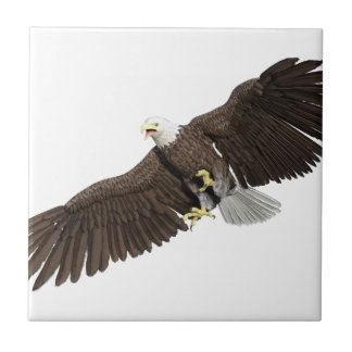 Bald Eagle with wings on down stroke Tiles