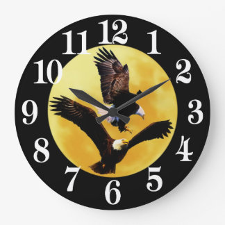 Bald eagles and full moon large clock