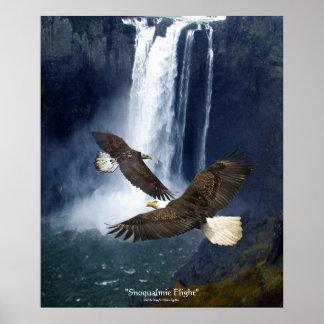 Bald Eagles & Waterfall Wildlife Art Poster