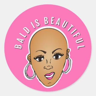 Bald is beautiful classic round sticker