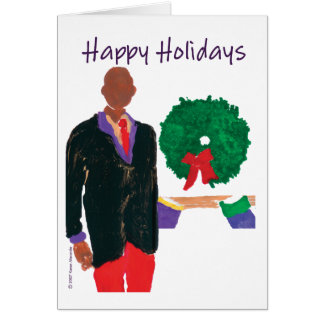 """Bald Man"" Happy Holidays Card"