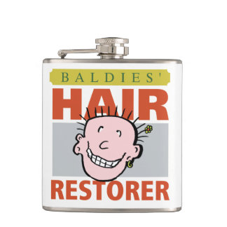 Baldies Hair Restorer Funny Design Hip Flask