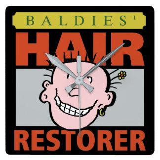 Baldies Hair Restorer Square Wall Clock