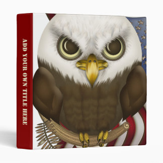 Baldwin The Cute Bald Eagle Personalized 3 Ring Binder