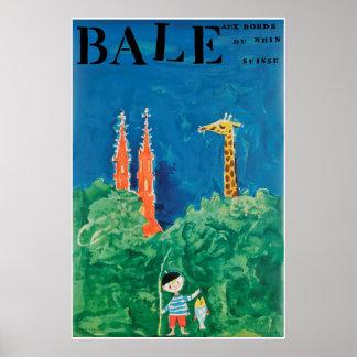 Bâle, au bord du Rhin, Suisse, Travel Poster